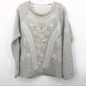 Unbranded | Gray & White Embroidered Sweatshirt